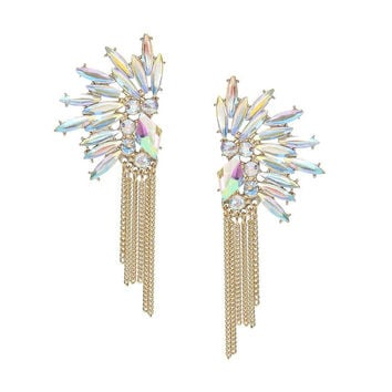 Rhinestoned Earrings with Tassel Detail