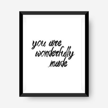 SPRING SALE motivational wall print art print home office art print - watercolor you are wonderfully made