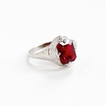 Vintage 10k White Gold Art Deco Created Ruby Ostby & Barton Ring - Embossed Filigree 1920s Emerald Cut Gemstone Fine Hallmarked OB Jewelry