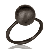 Brush Finished Solid Sterling Silver With Oxidized Stacking Ring