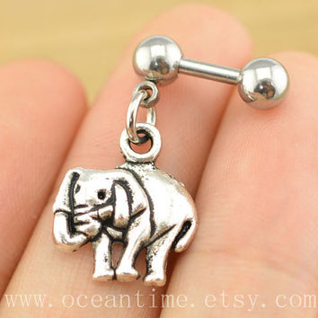 elephant Tragus Earring Jewelry,elephant barbell piercing jewelry, dangle elephant ear Helix Cartilage jewelry,lucky earring,oceantime
