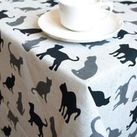 Linen tablecloth natural grey with grey black cats Eco Friendly , table runner , tea towel , pillow cover , curtains available , eco GIFT