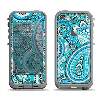 The Vibrant Blue and White Paisley Design  Apple iPhone 5c LifeProof Fre Case Skin Set