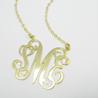 "1.5"" Monogram Necklace Personalized Initial - Sterling silver Plated with 18k gold. gift for her, personalized monogram jewelry."