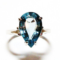 "Blue topaz, sky blue topaz, blue topaz ring, solitaire ring, birthstone ring, blue jewelry, s 6 1/2  ""Cool Running's"""
