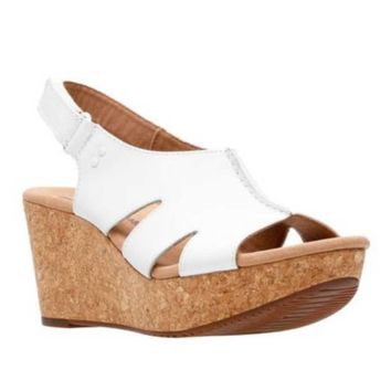 3dcbe8dc9c8 Clarks Annadel Bari White Leather Wedge Sandals