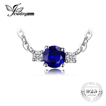 JewelryPalace 0.5ct 3 Stones Round Created Sapphire Real 925 Sterling Silver Jewelry 2017 Engagement Promise Necklaces For Women