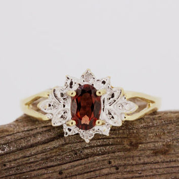 Vintage Garnet Ring Dainty Ring Navette Ring Promise Ring 10k Yellow Gold Ring Antique Filigree Ring Estate Ring January Birthstone Size 7