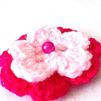 Pink crocheted flowers set of three revamp dress hat coat bag custom made