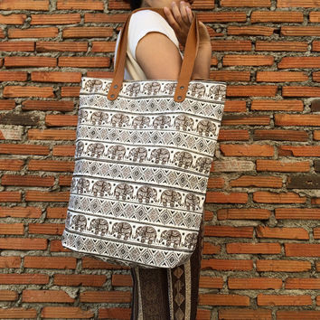 Elephant Beach Tote bag Canvas Boho Neon Hippie Beach Bag Yoga Bag Tote bag Tribal Hippie bag Weekender bag Beach Boho Bag Summer Bag Purse