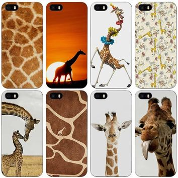 Giraffe Cubs Black Plastic Case Cover Shell for iPhone Apple 4 4s 5 5s SE 5c 6 6s 7 Plus
