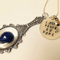 Steven Universe Lapis Lazuli Piece with Mirror Bezel and handstamped charm Sale First 20 people to use coupon code FIRST20 get 20% Off