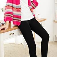 Black Faux Velvet Thick Knitted Winter Warm Slim Legging Pants
