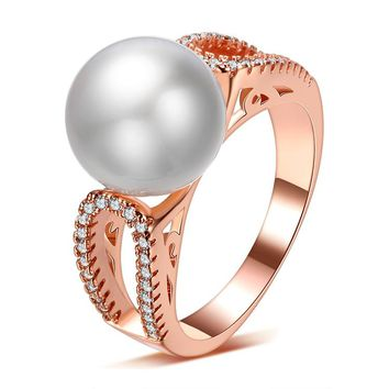 Wedding Ring for Women 2016 New Fashion Shiny Crystal  Imitation Shell Pearl 925 Sterling Silver Finger Rings (Gold Silver)