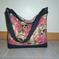20% Off Use Code 20OFF- Skull and Roses Slouchy Handbag Purse Tote Diaper Bag
