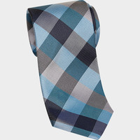 Esquire Teal Check Narrow Tie - Regular Length Ties | Men's Wearhouse