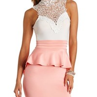 Crochet Lace Halter Peplum Dress
