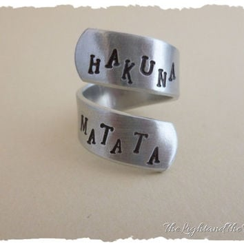 Hand Stamped Jewelry Ring - Silver Wrap Ring - Hakuna Matata means no worries - Inspired by The Lion King - Gift for her - gift idea