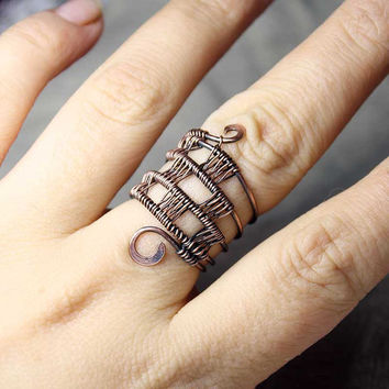 Scotland wire-wrapped ring with Tartan pattern - Bohemian ring - Light ring - Copper ring