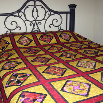 Asian Kaleidoscope with Black, Red & Gold Queen Bed Quilt