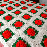 1970s Handmade Crocheted Fringed Afghan or Throw in Red, White, & Green with Large Irish Crochet Roses