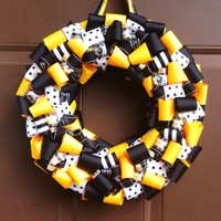 Steelers Ribbon Wreath for Front Door or Bar Sports NFL