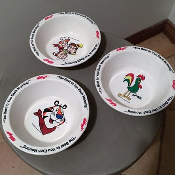 Vintage 1995 Set of Three (3) Plastic Kellogg's Cereal Bowls Featuring Snap, Crackle and Pop; Toney the Tiger and Corny the Rooster