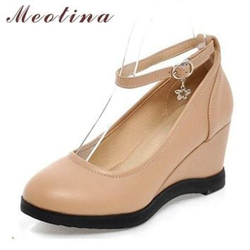 Meotina Women Shoes Autumn Round Toe Ankle Strap Platform Wedge Heels Sequined Causal