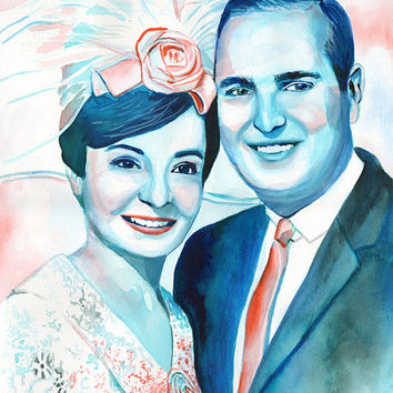 WATERCOLOR WEDDING PORTRAIT painted from photo - 50 wedding anniversary gift