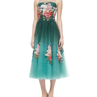 Women's Tea-Length Floral Appliqué Dress - NOIR Sachin & Babi - Teal