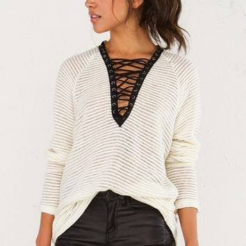 Ribbed Sweater With Laced Up Detail in Charcoal and Black