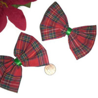 Red and Green Plaid Hair Bows, Christmas Bows, Plaid Fabric, Womens Bows