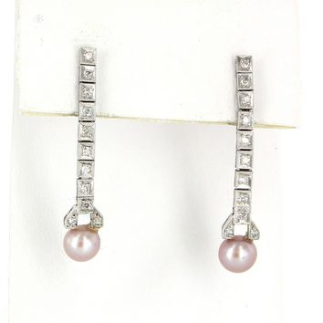 Vintage Diamond Cultured Pink Pearl 14 Karat White Gold Dangle Drop Earrings Estate Jewelry