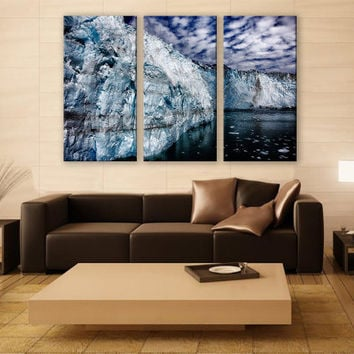 Prince Wiliam Sound Alaska Iceberg Ice Print 3 Panels Print Wall Decor Fine Art Photography Repro Print for Home and Office Wall Decoration