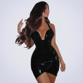 Halter Deep V-neck Irregular Short Bodycon PU Club Dress