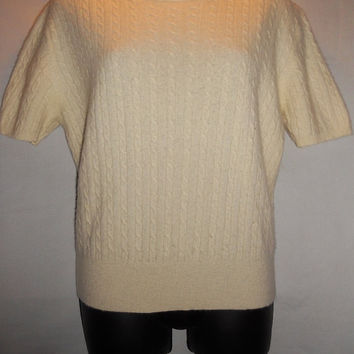 Vintage Ralph Lauren Angora Short Sleeve Sweater Cream Petite Large Cream White Cachemire, Nylon
