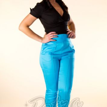 Retro Glam - Laura Byrnes Black Label High Waisted Cropped Trousers in Sky Blue
