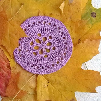 Lilac coasters crochet lace Round shape doily Handmade cotton table decor Ornaments accents decoration Delicate gift ideas Stunning design