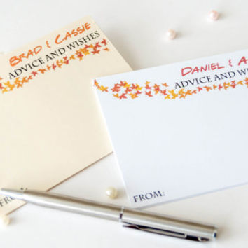 Advice and wishes for bride and groom cards, wedding comment cards, fall wedding decor, fall wedding cards  - 25 cards