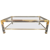Vintage Brass, Lucite and Glass Coffee Table