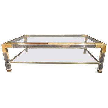labarge brass glass coffee table 1
