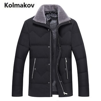 KOLMAKOV 2017 new winter high quality men's fashion wool turndown-collar down jacket,90% white duck down coats parkas.size M-3XL