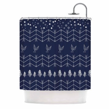 "Famenxt ""Tribal Night Arrows Jungle"" Blue Digital Shower Curtain"