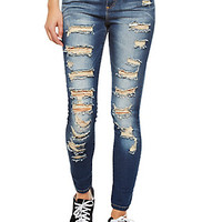 Fully Ripped Front Faded-Fray Skinny Jeans With Heavy Contrast Fading