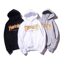 Men/Women sportswear Thrasher hoodie flame skateboard dead fly west hip-hop harajuku hooded fleece Thrasher THRASHER sweatshirt