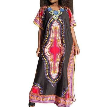 ESBONC. 2017 Boho Women Vintage Oversized Summer Beach Party Casual Floral Printed Short Sleeve Long Maxi Dress Kaftan Vestido Tops