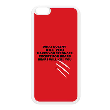 What Doesn't Kill You Makes You Stronger White Silicon Rubber Case for iPhone 6 Plus by Chargrilled