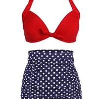 Cocoship Retro Red Top and White Polka High Waisted Bikini Swimsuits Swimwear S(FBA)