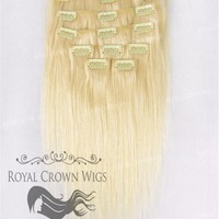 Brazilian 9 Piece Straight Human Hair Weft Clip-In Extensions in #22