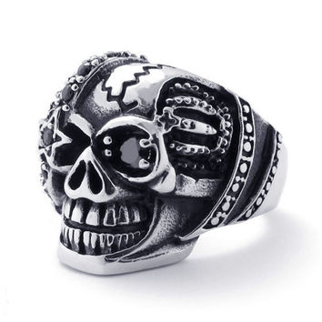Pirate Skull Ring BLACK Crystal Eye 316L Titanium Steel Jewelry for Men-Size 13